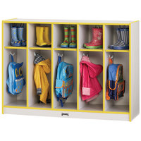 Rainbow Accents 2684JCWW007 48 inch x 15 inch x 35 inch Toddler-Height 5-Section Yellow TRUEdge Freckled-Gray Laminate Coat Locker