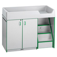 Rainbow Accents 5148JC119 48 1/2 inch x 23 1/2 inch x 38 1/2 inch Green TRUEdge Freckled-Gray Right-Sided Diaper Changing Station with Stairs