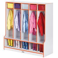 Rainbow Accents 0468JCWW114 48 inch x 17 1/2 inch x 50 1/2 inch 5-Section Orange TRUEdge Freckled-Gray Laminate Coat Locker with Step