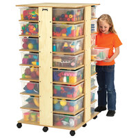 Jonti-Craft Baltic Birch 0354JC 27 inch x 27 inch x 53 1/2 inch Mobile 32-Cubbie Wood Tub Storage Tower with Colored Tubs