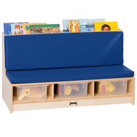 Jonti-Craft Baltic Birch 37460JC 42 inch x 18 1/2 inch x 23 1/2 inch Wood Literacy Room Couch with Padded Blue Seating and Clear Tubs