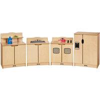 Jonti-Craft Baltic Birch 2441JC Gourmet 80 1/2 inch x 15 inch x 28 1/2 inch 4-Piece Toddler Kitchen Set