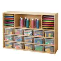 Young Time 7032YT 48 inch x 15 inch x 32 1/2 inch Natural Sectional Cubbie Storage Unit with Clear Trays