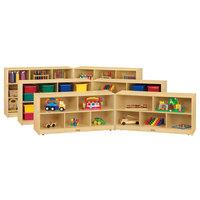 Jonti-Craft Baltic Birch 0326JC18 Fold-n-Lock 96 inch x 18 inch x 24 1/2 inch Toddler-Height Extra-Deep Mobile 10-Cubbie Wood Storage Cabinet