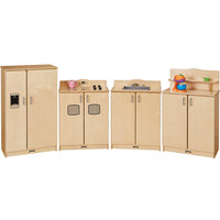 Jonti-Craft Baltic Birch 2411SA Culinary Creations 96 inch x 15 inch x 40 inch 4-Piece School Age Play Kitchen Set