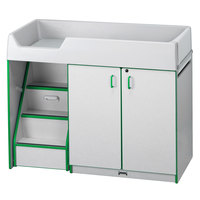 Rainbow Accents 5145JC119 48 1/2 inch x 23 1/2 inch x 38 1/2 inch Green TRUEdge Freckled-Gray Left-Sided Diaper Changing Station with Stairs