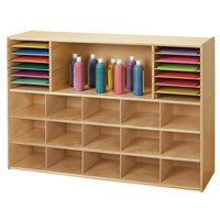 Young Time 7030YT 48 inch x 15 inch x 32 1/2 inch Natural Sectional Cubbie Storage Unit