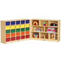 Jonti-Craft Baltic Birch 0428JC Fold-n-Lock 96 inch x 15 inch x 35 1/2 inch Mobile 33-Cubbie Wood Storage Cabinet with Colored Bins