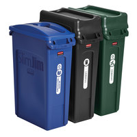 Rubbermaid 1998897 Slim Jim 3-Stream Waste and Recycling Station Kit with (3) 23 Gallon Trash Cans, Lids, and Label Kit