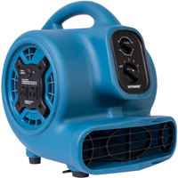 XPOWER P-230AT Blue 3-Speed Compact Air Mover with GFCI Power Outlets and Timer - 1/5 hp