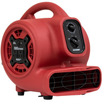XPOWER P-230AT Red 3-Speed Compact Air Mover with GFCI Power Outlets and Timer - 1/5 hp
