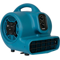 XPOWER P-450AT Freshen Aire Blue 3-Speed Compact Scented Air Mover with GFCI Power Outlets and Timer - 1/3 hp