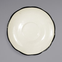International Tableware SY-2 Sydney 5 3/4 inch Ivory (American White) Scalloped Edge Stoneware Saucer with Black Rim - 36/Case