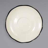 International Tableware SY-36 Sydney 4 7/8 inch Ivory (American White) Scalloped Edge Stoneware Saucer with Black Rim - 36/Case