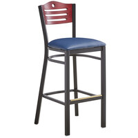 Lancaster Table & Seating Mahogany Finish Bar Height Bistro Chair with 2 inch Navy Padded Seat