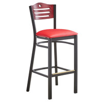 Lancaster Table & Seating Mahogany Finish Bar Height Bistro Chair with 2 inch Red Padded Seat