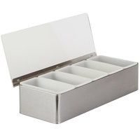 American Metalcraft CD5 5-Compartment Satin Finish Stainless Steel Condiment Bar