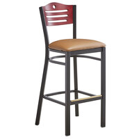 Lancaster Table & Seating Mahogany Finish Bar Height Bistro Chair with 2 inch Light Brown Padded Seat