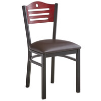Lancaster Table & Seating Mahogany Finish Bistro Dining Chair with 1 1/2 inch Dark Brown Padded Seat
