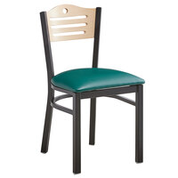 Lancaster Table & Seating Natural Finish Bistro Dining Chair with 1 1/2 inch Green Padded Seat