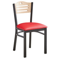 Lancaster Table & Seating Natural Finish Bistro Dining Chair with 1 1/2 inch Red Padded Seat