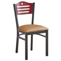 Lancaster Table & Seating Mahogany Finish Bistro Dining Chair with 1 1/2 inch Light Brown Padded Seat