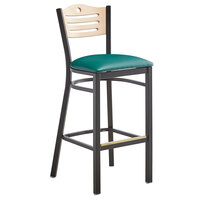 Lancaster Table & Seating Natural Finish Bar Height Bistro Dining Chair with 2 inch Green Padded Seat