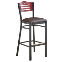 Lancaster Table & Seating Mahogany Finish Bar Height Bistro Chair with 2 inch Dark Brown Padded Seat