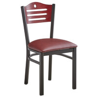 Lancaster Table & Seating Mahogany Finish Bistro Dining Chair with 1 1/2 inch Burgundy Padded Seat