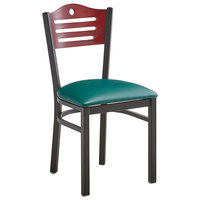 Lancaster Table & Seating Mahogany Finish Bistro Dining Chair with 1 1/2 inch Green Padded Seat
