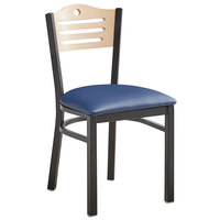 Lancaster Table & Seating Natural Finish Bistro Dining Chair with 1 1/2 inch Navy Padded Seat