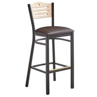 Lancaster Table & Seating Natural Finish Bar Height Bistro Dining Chair with 2 inch Dark Brown Padded Seat