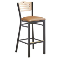 Lancaster Table & Seating Natural Finish Bar Height Bistro Dining Chair with 2 inch Light Brown Padded Seat