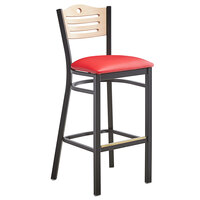 Lancaster Table & Seating Natural Finish Bar Height Bistro Dining Chair with 2 inch Red Padded Seat