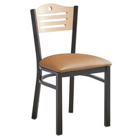 Lancaster Table & Seating Natural Finish Bistro Dining Chair with 1 1/2 inch Light Brown Padded Seat