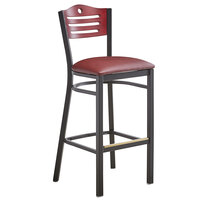 Lancaster Table & Seating Mahogany Finish Bar Height Bistro Chair with 2 inch Burgundy Padded Seat