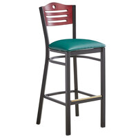 Lancaster Table & Seating Mahogany Finish Bar Height Bistro Chair with 2 inch Green Padded Seat