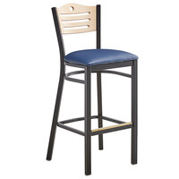 Lancaster Table & Seating Natural Finish Bar Height Bistro Dining Chair with 2 inch Navy Padded Seat