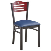 Lancaster Table & Seating Mahogany Finish Bistro Dining Chair with 1 1/2 inch Navy Padded Seat