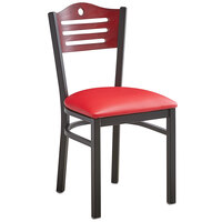 Lancaster Table & Seating Mahogany Finish Bistro Dining Chair with 1 1/2 inch Red Padded Seat