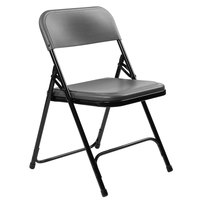National Public Seating 820 Black Metal Folding Chair with Charcoal Slate Plastic Seat