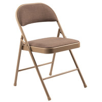 National Public Seating 973 Commercialine Star Trail Brown Metal Folding Chair with Star Trail Brown Padded Fabric Seat