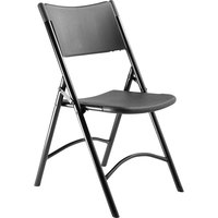 National Public Seating 610 Black Metal Frame Folding Chair with Black Plastic Back and Seat