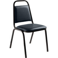 National Public Seating 9104-B Stackable Chair with 1 1/2 inch Padded Seat, Black Metal Frame, and Midnight Blue Vinyl Upholstery