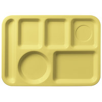 Carlisle 61404 10 inch x 14 inch Yellow ABS Plastic Left Hand 6 Compartment Tray