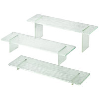 Tablecraft ARL3 Cristal Set of Three Rectangle Acrylic Riser Set with Straight Legs - 1 inch, 3 inch, 5 inch