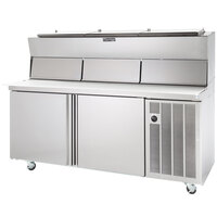 Delfield 18672PDLP 72 inch Two Door Refrigerated Pizza Prep Table with Dual LiquiTec Raised Rails