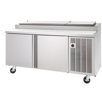 Delfield 18672PTLP 72 inch Two Door Refrigerated Pizza Prep Table with LiquiTec Raised Rail