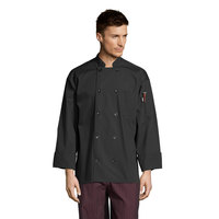 Uncommon Threads Classic Poplin 0413 Black Unisex Customizable Long Sleeve Chef Coat with 10 Buttons - L