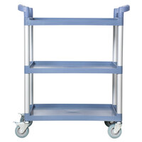 33 1/2 inch x 16 1/8 inch x 37 inch Gray Three Shelf Utility Cart / Bus Cart